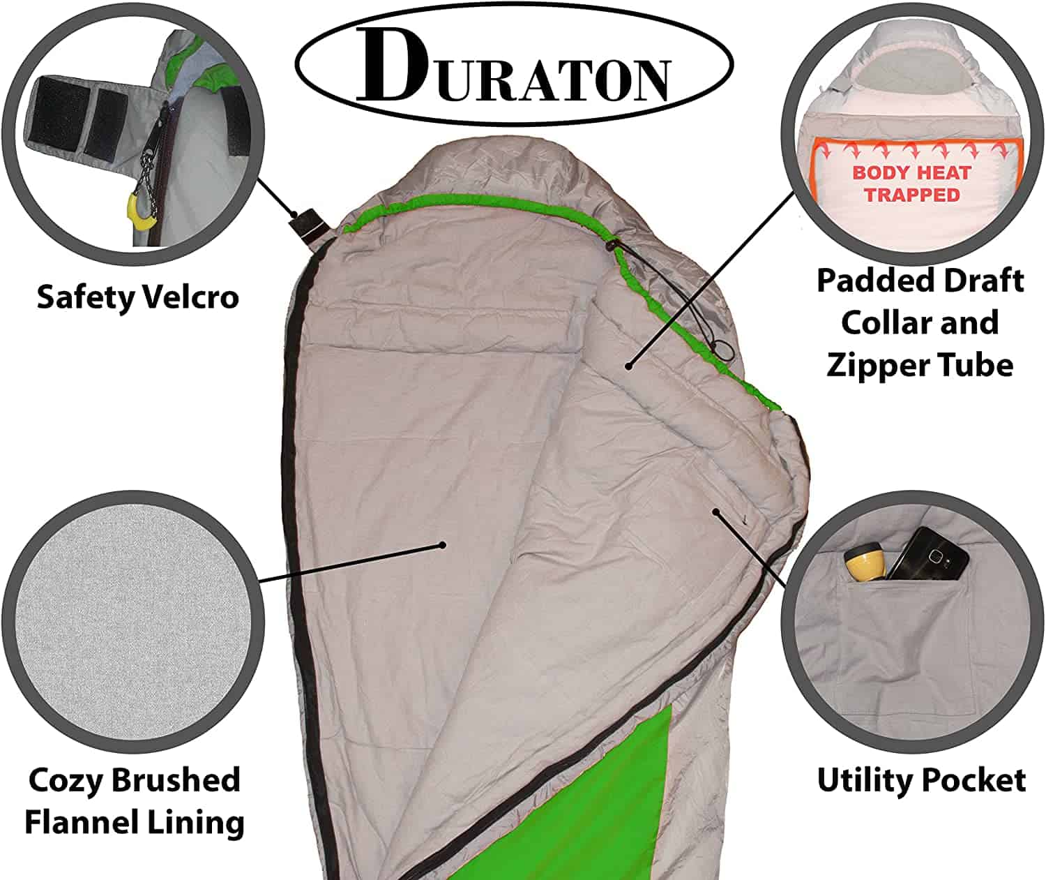 Duraton Mummy Sleeping Bag 20 Degree Weather, Lightweight with Compression Sack for Camping or Backpacking, Warm for Both Adults and Kids 2