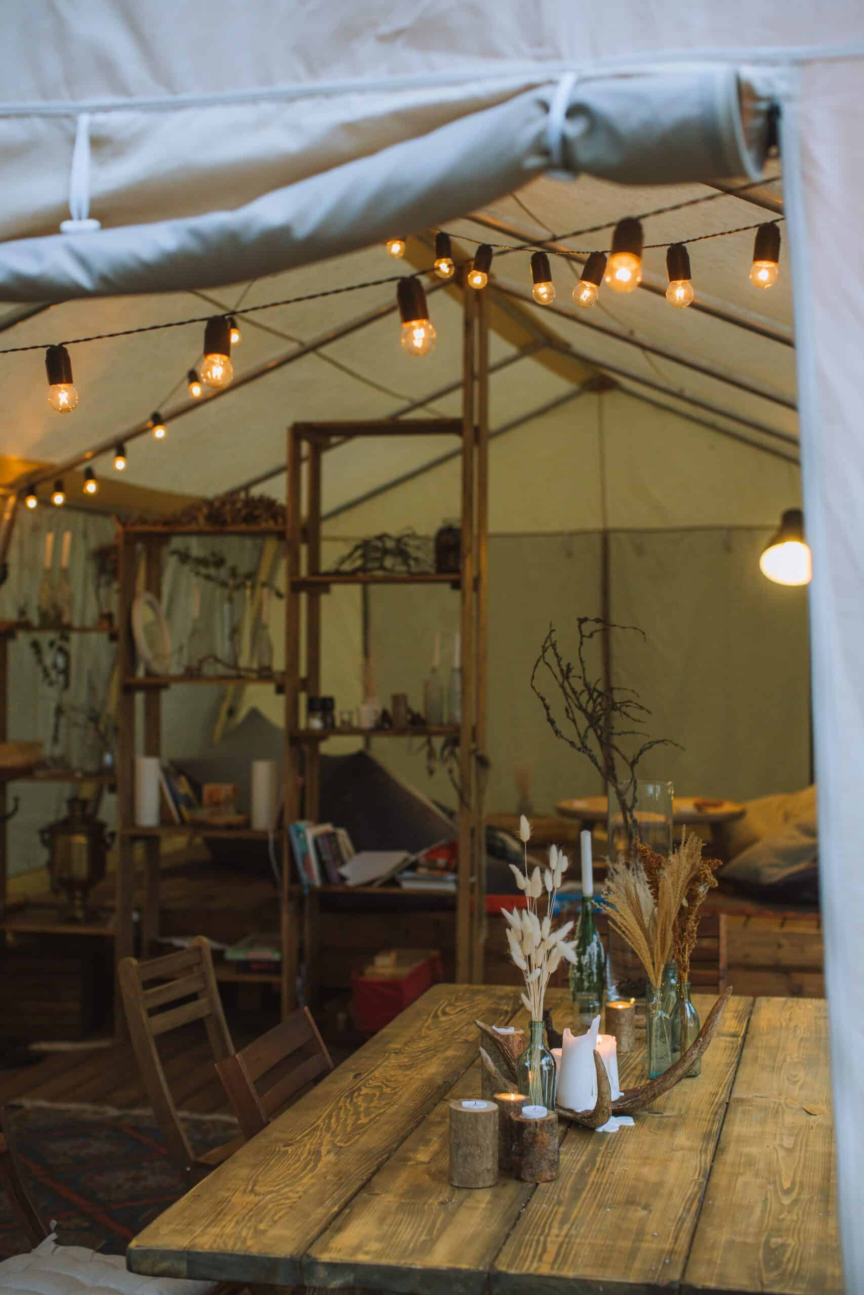 Add extra touches of luxury in your tent