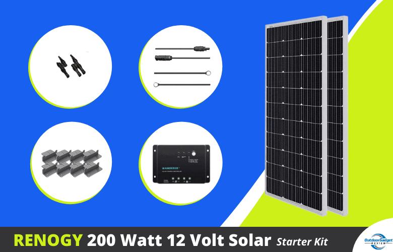 Renogy 200 Watt 12 Volt Monocrystalline Solar Starter Kit with Wanderer (1)
