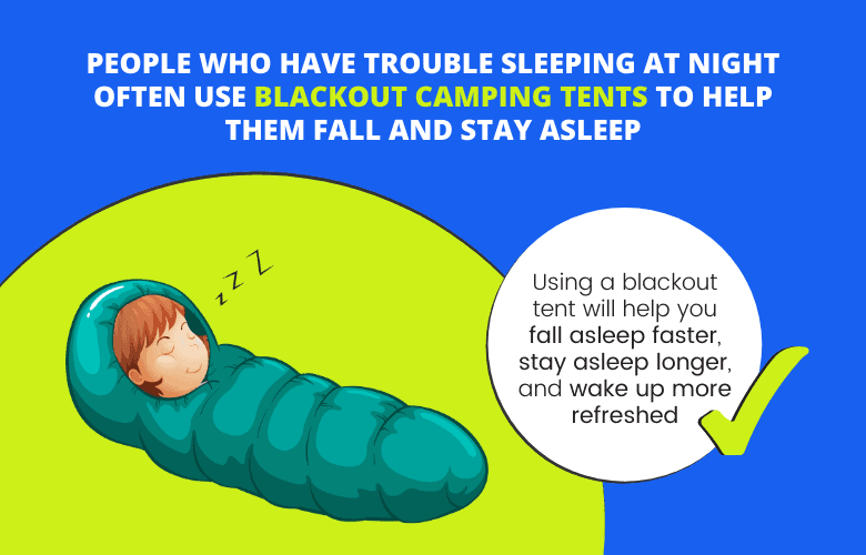 People who have trouble sleeping at night often use blackout camping tents